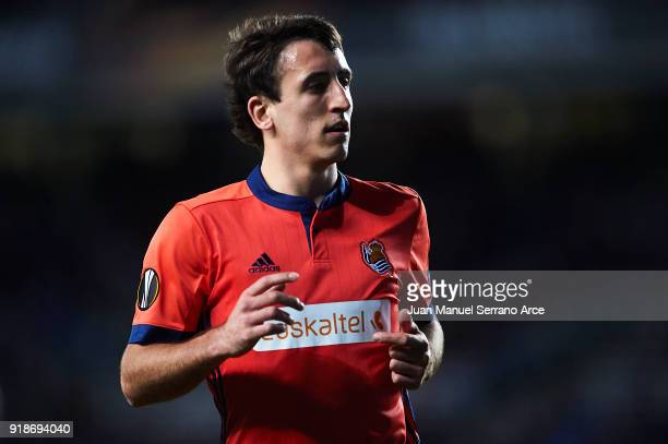 Mikel Oyarzabal of Real Sociedad looks on during UEFA Europa League Round of 32 match between Real Sociedad and FC Red Bull Salzburg at the Estadio...