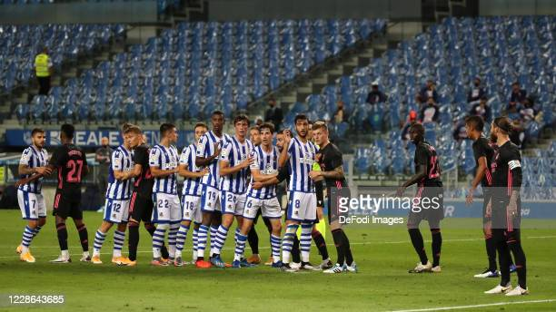 Mikel Oyarzabal of Real Sociedad Mikel Merino of Real Sociedad Alexander Isak of Real Sociedad Ander Barrenetxea of Real Sociedad Portu of Real...