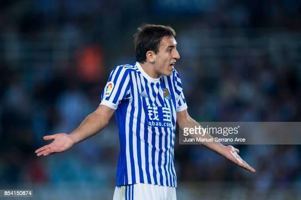 Mikel Oyarzabal of Real Sociedad reacts during the La Liga match between Real Sociedad de Futbol and Valencia CF at Estadio Anoeta on September 24...
