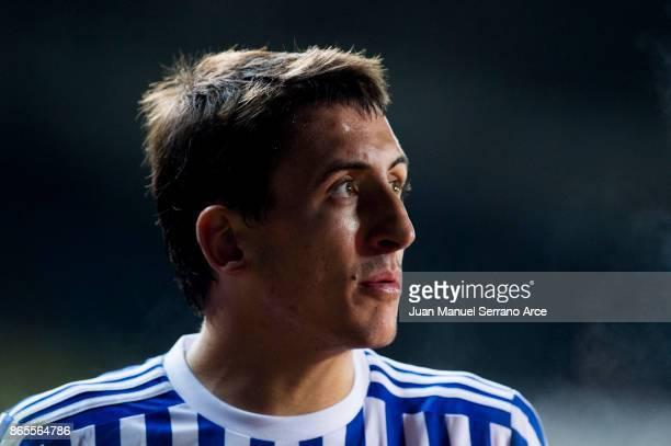 Mikel Oyarzabal of Real Sociedad reacts during the La Liga match between Real Sociedad de Futbol and RCD Espanyol at Estadio Anoeta on October 23...