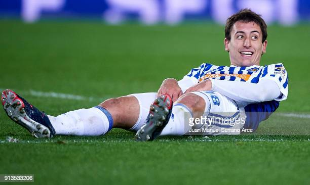 Mikel Oyarzabal of Real Sociedad reacts during the La Liga match between Real Sociedad de Futbol and RC Deportivo La Coruna at Estadio Anoeta on...