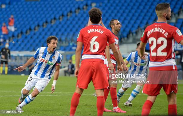 Mikel Oyarzabal of Real Sociedad scores his side second goal during the Liga match between Real Sociedad and Granada CF at Estadio Anoeta on July 10...