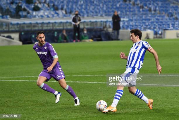 Mikel Oyarzabal of Real Sociedad scores their side's second goal during the La Liga Santander match between Real Sociedad and Real Betis at Reale...