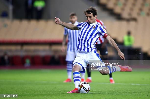 Mikel Oyarzabal of Real Sociedad scores their team's first goal from the penalty spot during the Copa Del Rey Final match between Real Sociedad and...
