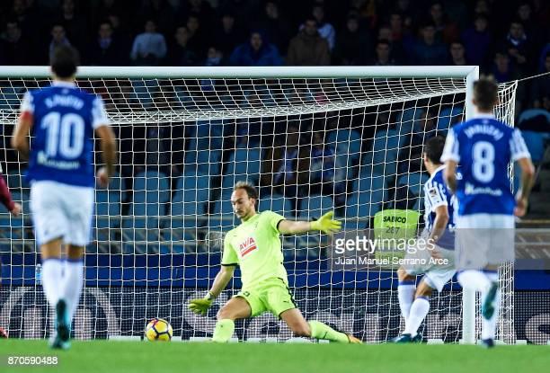Mikel Oyarzabal of Real Sociedad shoots for score the third goal for Real Sociedad during the La Liga match between Real Sociedad and Eibar at...
