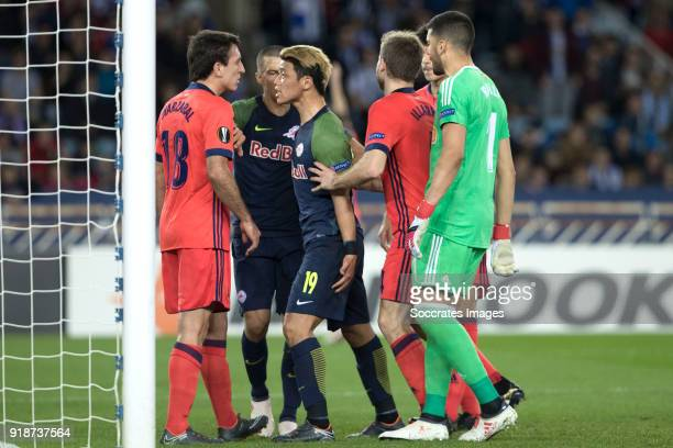 Mikel Oyarzabal of Real Sociedad Stefan Lainer of Red Bull SalzburgHeeChan Hwang of Red Bull Salzburg Geronimo Rulli of Real Sociedad during the UEFA...