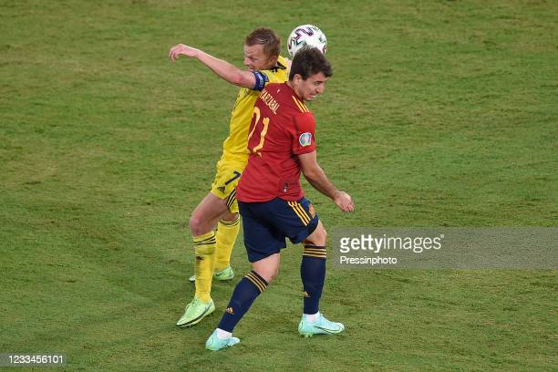 Mikel Oyarzabal of Spain and Sebastian Larsson of Sweden during the match between Spain and Sweden of Euro 2020, group E, matchday 1, played at La...