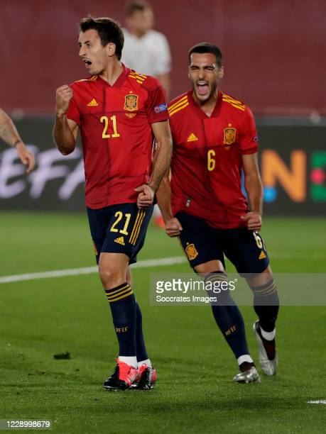 Mikel Oyarzabal of Spain Celebrates 1-0 with Mikel Merino of Spain during the UEFA Nations league match between Spain v Switzerland on October 10,...
