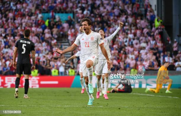 Mikel Oyarzabal of Spain celebrates after scoring their side's fifth goal during the UEFA Euro 2020 Championship Round of 16 match between Croatia...