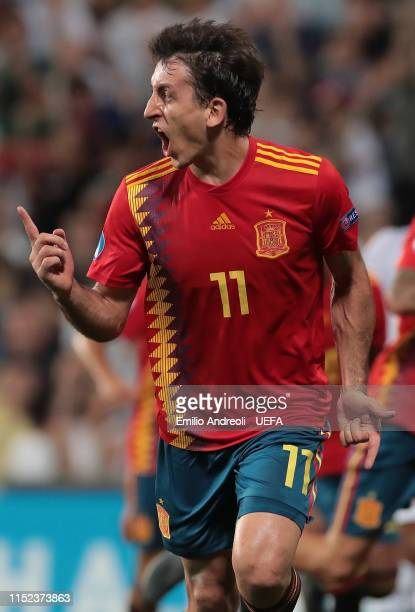 Mikel Oyarzabal of Spain celebrates his goal during the 2019 UEFA U21 SemiFinal match between Spain and France at Mapei Stadium Citta' del Tricolore...