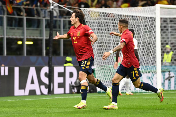 Mikel Oyarzabal of Spain celebrates with teammate Yeremi Pino after scoring their side's first goal during the UEFA Nations League 2021 Final match...