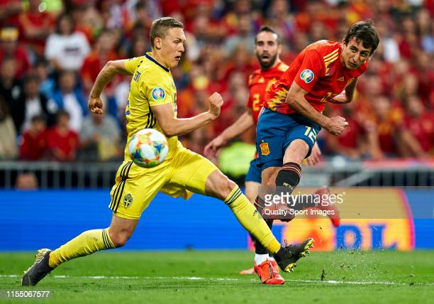 Mikel Oyarzabal of Spain scores his first goal against Ludwing Augustinsson of Sweden during the UEFA Euro 2020 qualifier match between Spain and...