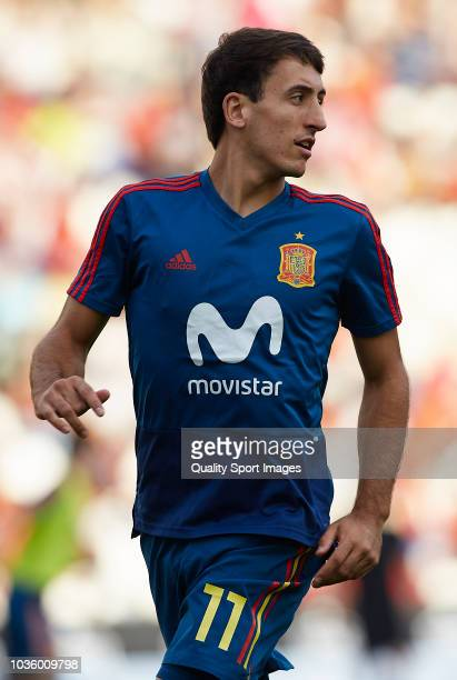 Mikel Oyarzabal of Spain warms up during the 2019 UEFA Under 21 qualifier match between Spain U21 and Albania U21 at Nuevo Arcangel Stadium on...