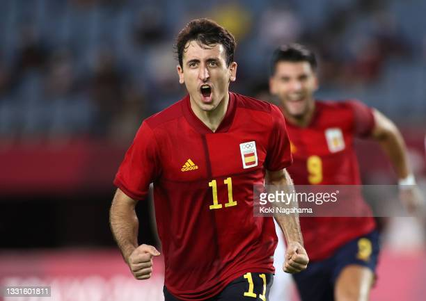 Mikel Oyarzabal of Team Spain celebrates after scoring their side's third goal from the penalty spot during the Men's Quarter Final match between...