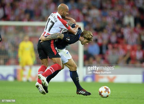 Mikel Rico of Athletic Bilbao and Alexander Esswein of Hertha BSC during the game between Athletic Bilbao and Hertha BSC at San Mames Stadium on...