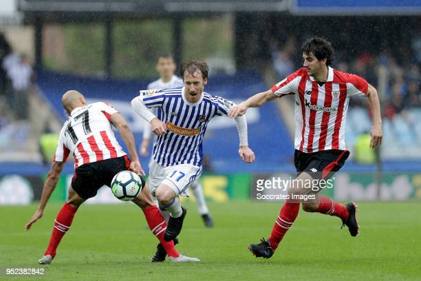 Mikel Rico of Athletic Bilbao, David Zurutuza of Real Sociedad, Mikel San Jose of Athletic Bilbao during the La Liga Santander match between Real...