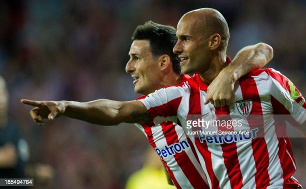 Mikel Rico of Athletic Club Bilbao celebrates after scoring goal during the La Liga match between Athletic Club Bilbao and Villarreal at San Mames...