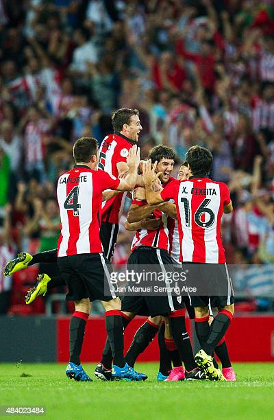 Mikel San Jose 3of Athletic Club celebrates with team mates after scoring goal during the Super Cup first leg match between of Athletic Club and FC...