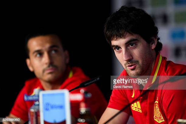 Mikel San Jose and Pedro Rodriguez of Spain face the media during a press conference on June 11 2016 in La Rochelle France