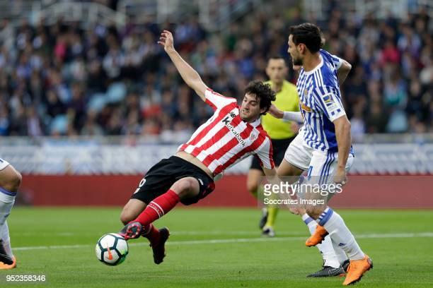 Mikel San Jose of Athletic Bilbao, Asier Illarramendi of Real Sociedad during the La Liga Santander match between Real Sociedad v Athletic de Bilbao...