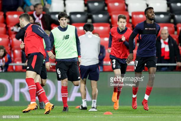 Mikel San Jose of Athletic Bilbao Enric Saborit of Athletic Bilbao Inaki Williams of Athletic Bilbao during the La Liga Santander match between...