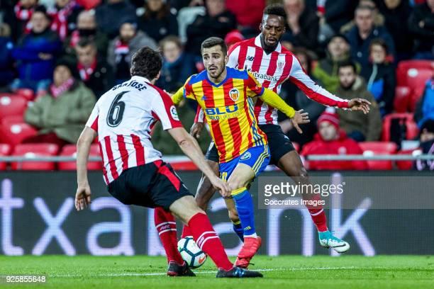 Mikel San Jose of Athletic Bilbao Jose Gaya of Valencia CF Inaki Williams of Athletic Bilbao during the La Liga Santander match between Athletic de...