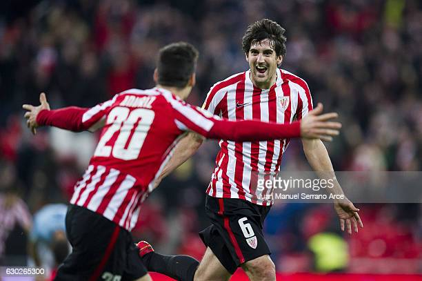 Mikel San Jose of Athletic Club celebrates after scoring his team's second goal during the La Liga match between Athletic Club Bilbao and RC Celta de...