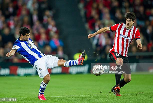 Mikel San Jose of Athletic Club duels for the ball with Chori Castro of Real Sociedad during the La Liga match between Athletic Club and Real...