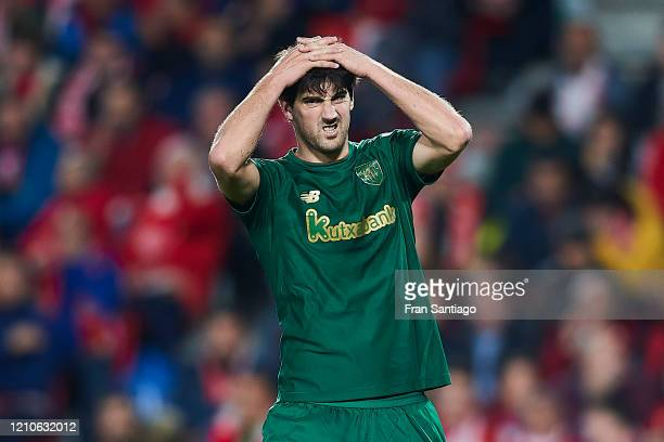 Mikel San Jose of Athletic Club reacts during the Copa del Rey semi-final 2nd leg match between Granada CF and Athletic Club at Estadio Nuevo Los...
