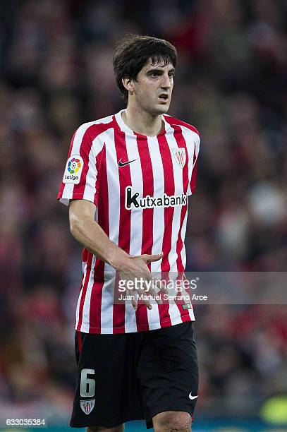 Mikel San Jose of Athletic Club reacts during the La Liga match between Athletic Club Bilbao and Real Sporting de Gijon at San Mames Stadium on...