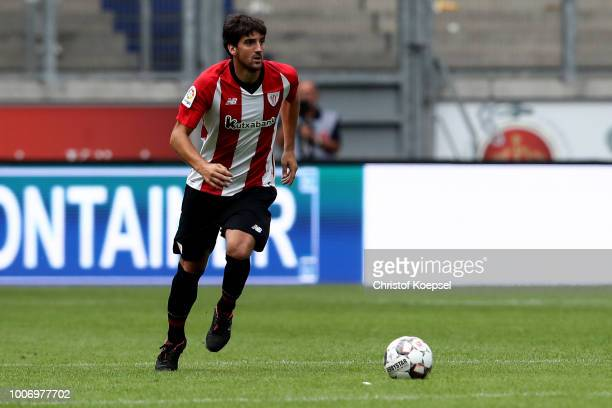 Mikel San Jose of Bilbao runs with the ball during the second semi final match between FC Fulham and Athletic Bilbao at Schauinsland-Reisen-Arena on...