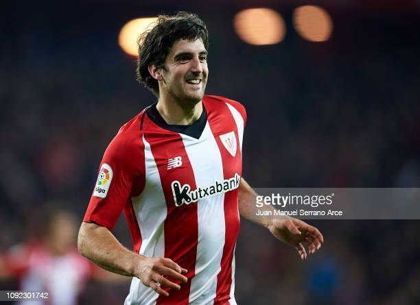 Mikel San Jose of Club Athletic de Bilbao celebrates after scoring goal during the Copa del Rey Round of 16 match between Club Athletic de Bilbao and...