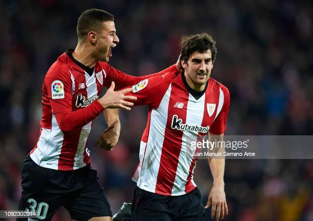 Mikel San Jose of Club Athletic de Bilbao celebrates with his teammate Gorka Guruzeta of Club Athletic de Bilbao after scoring the opening goal...