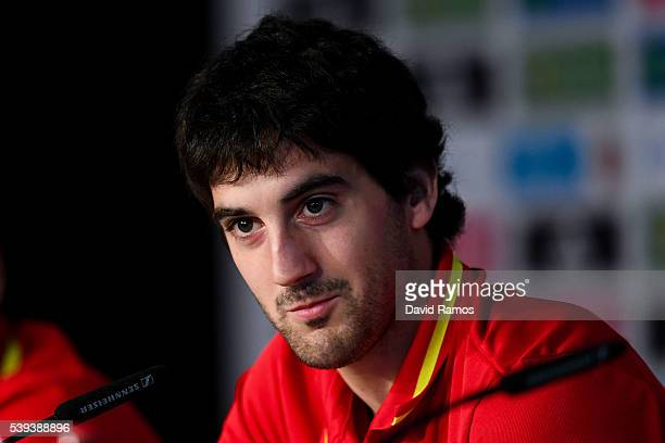 Mikel San Jose of Spain faces the media during a press conference on June 11, 2016 in La Rochelle, France.