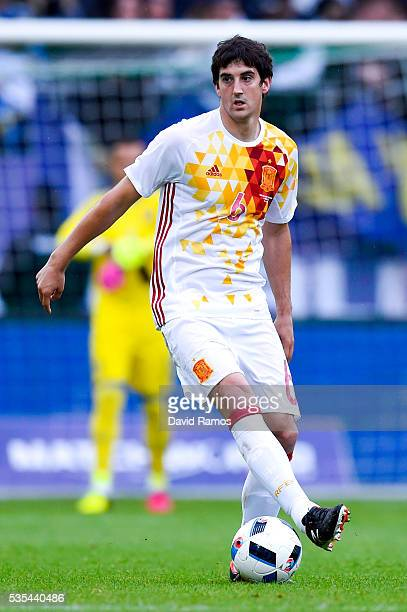 Mikel San Jose of Spain runs with the ball during an international friendly match between Spain and Bosnia at the AFG Arena on May 29 2016 in St...