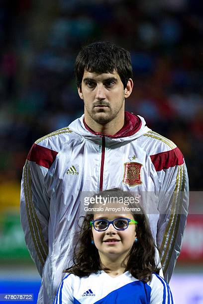 Mikel San Jose of Spain stands prior to start the international friendly match between Spain and Costa Rica at Reino de Leon Stadium on June 11, 2015...