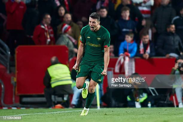 Mikel Vesga of Athletic Club celebrates scoring his team's opening goal during the Copa del Rey semifinal 2nd leg match between Granada CF and...