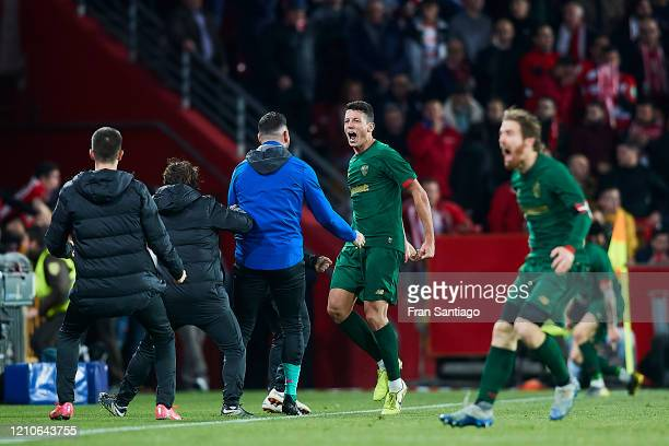 Mikel Vesga of Athletic Club celebrates scoring his team's opening goal with team mates during the Copa del Rey semifinal 2nd leg match between...
