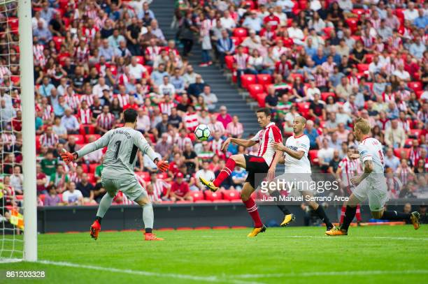 Mikel Vesga of Athletic Club scores the opening goal during the La Liga match between Athletic Club Bilbao and Sevilla FC at San Mames Stadium on...