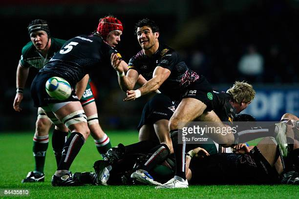 Mike Phillips of Ospreys makes the pass during the Heineken Cup Match between Ospreys and Leicester Tigers at the Liberty Stadium on January 24 2009...