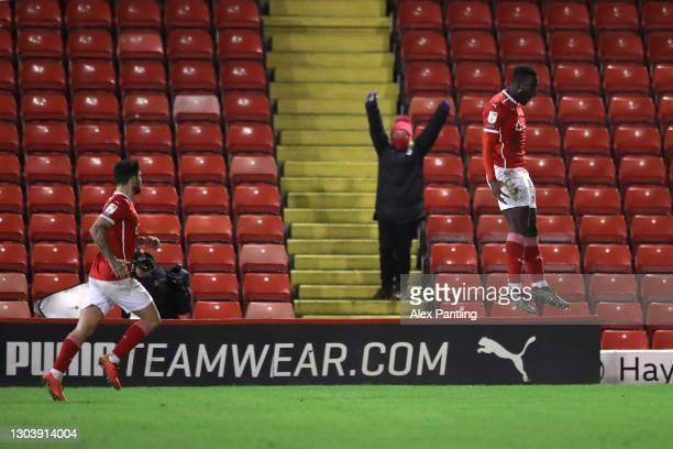 Mike-Steven Bahre of Barnsley celebrates after scoring their side's second goal during the Sky Bet Championship match between Barnsley and Stoke City...