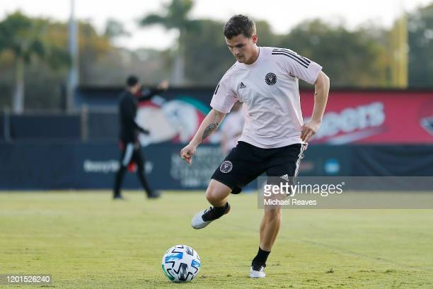 Mikey Ambrose of Inter Miami CF in action during a training session at Barry University on January 23 2020 in Miami Florida