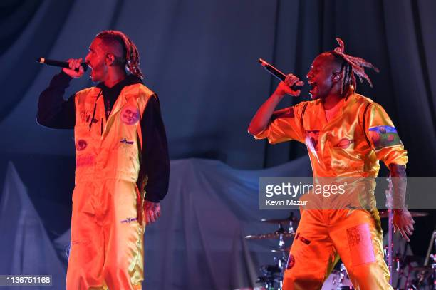 Mikey and Scootie of Social House perform onstage during the Ariana Grande Sweetener World Tour Opening Night at Times Union Center on March 18 2019...