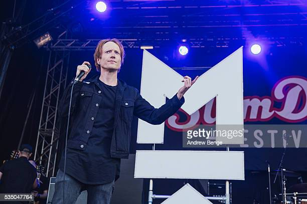 Mikey Chapman of Mallory Knox performs on stage during Slam Dunk Festival at Millennium Square on May 28 2016 in Leeds England