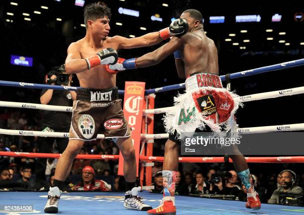 Mikey Garcia and Adrien Broner exchange punches during their Junior Welterwight bout on July 29 2017 at the Barclays Center in the Brooklyn borough...