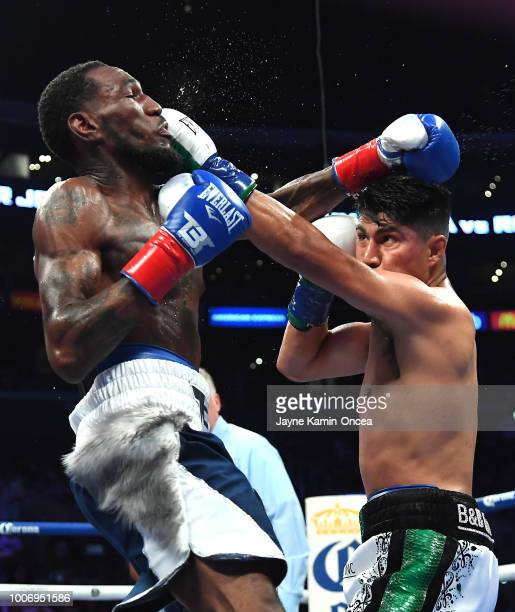 Mikey Garcia as he defeats Robert Easter Jr in their WBC IBF World Lightweight Title fight at Staples Center on July 28 2018 in Los Angeles California
