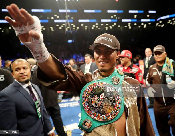 Mikey Garcia celebrates his win over Adrien Broner during their Junior Welterwight bout on July 29 2017 at the Barclays Center in the Brooklyn...
