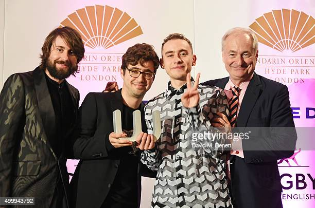 Mikey Goldsworthy, Emre Turkmen and Olly Alexander of Years & Years, winners of the Winq Music Award, and Paul Gambaccini attend the Winq Magazine...