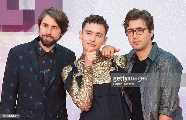 """Mikey Goldsworthy, Olly Alexander and Emre Turkmen of Years & Years arrive for the World premiere of """"Bridget Jones's Baby"""" at Odeon Leicester Square..."""