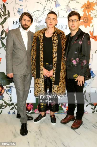 Mikey Goldsworthy Olly Alexander and Emre Turkmen of Years Years attend the ERDEM X HM Exclusive Event at HM Flagship Fifth Avenue Store on October...
